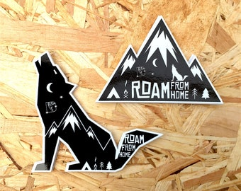 Roam Stickers, Wolf Stickers, Adventure Stickers, Travel Stickers, Camping Stickers, Mountain Stickers, Cool Laptop Stickers, Car Stickers