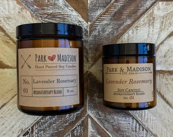 Lavender Rosemary Soy Candle, Soy Candles Handmade, Scented Soy Candle, Soy Candles, Gifts, Herbal Candle