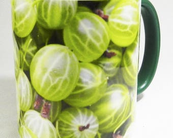 The Original Ripe and Ready Gooseberry Mug with green glazed inner and handle
