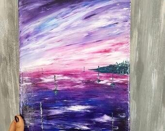 Abstract painting modern art, abstract sunset Art, ocean