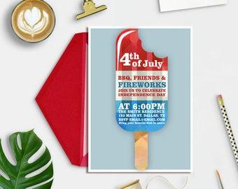 4th of July Invitation, July 4th Invitation, Fourth of July Invitation, Independence Day Invitation, Patriotic Invite, BBQ invitation