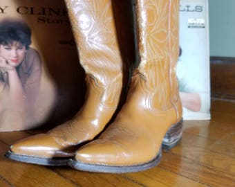 Vintage Ladies Nocona Country Western Cowgirl Boots / Brown Leather / Size 7 Mousie Mae