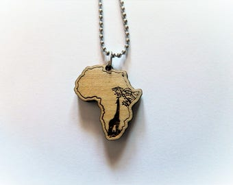 Necklace/Keychain AFRICA wood giraffe savanna