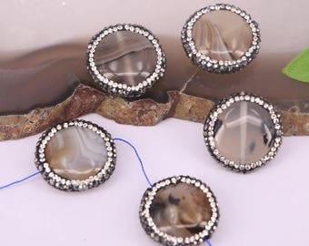 10Pcs Round Shape Agate Stone Pave Rhinestone Spacer Loose Beads Jewelry Making