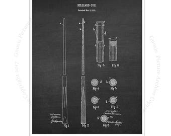 Billiards Poster art print #4 Billiard Cue design invented in 1910 with chalkboard background, Billiard gift for him, rec room decor