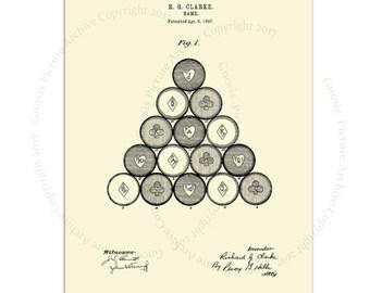 Billiard Patent Art Print # 1 with cream background, billiard balls decor, pool room decor, rec room decor,  billiard gift for him