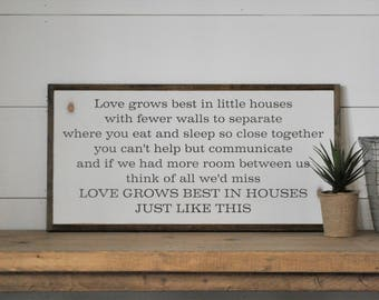 LOVE GROWS BEST in little houses 1'X2' sign   distressed shabby chic wooden sign   painted wall art   elegant farmhouse decor