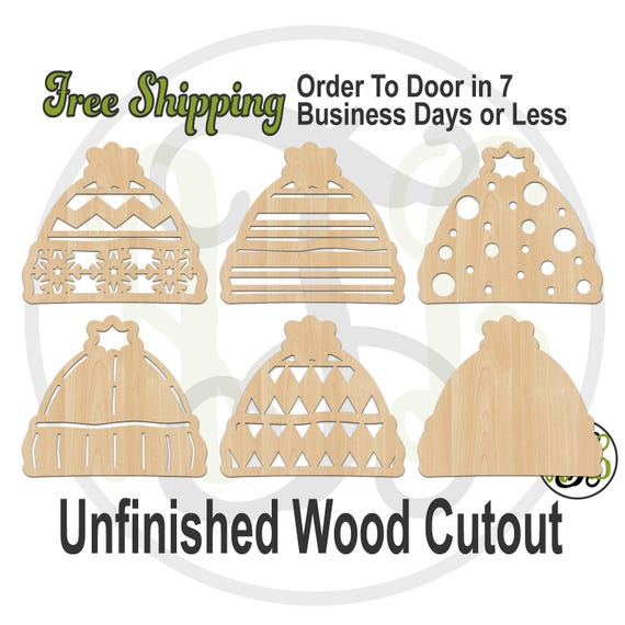Snow Hat- 180067-72- Christmas Cutout, unfinished, wood cutout, wood craft, laser cut shape, wood cut out, Door Hanger, Holiday, wooden