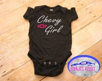 Chevy Girl Infant One Piece Bodysuit (creeper) Perfect for the Chevy (Chevrolet) car or truck lover & their baby girl!