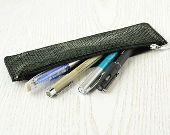 Leather pen holder Leather pen case with zipper Pencil case leather Pencil pouch Slim pen case Leather case for pencil Flat pencil holder