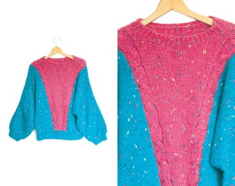 Vintage pink blue sweater. Oversized sweater. Slouchy sweater. Womens sweater. Loose fit sweater. Retro groovy funky. Baggy sweater.