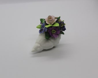 Royal Adderley floral shell flower figurine c1970 bone china, made in England.