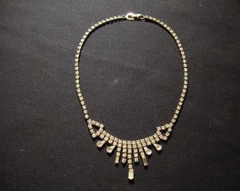 Pretty Understated Vintage Clear Rhinestone Necklace