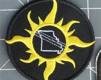 Solar Eclipse Patch showing totality path thru Missouri/ design 2 / embroidery / iron on / patch