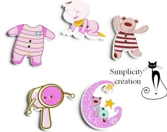 5 buttons wood themed baby pink