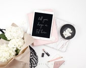 Styled Stock Photography | Flatlay Image | Hydrangea, iPad and Desk Accessories | Styled Photography | Digital Image