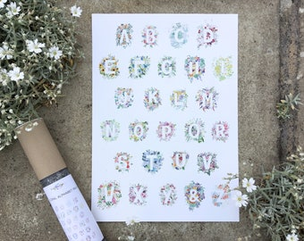 Floral Alphabet Print - A-Z  Watercolour Flowers, Alphabet Letter Poster, Home Decor, Print Nursery Playroom Bedroom