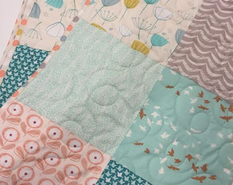 Patchwork Baby Quilt, Baby Girl Crib Bedding, Coral Mint Teal Nursery, Quilted Baby Blanket, Baby Quilts for Sale, Handmade baby quilt