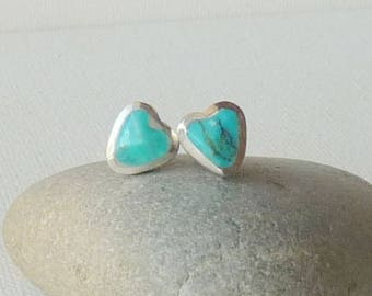 Vintage Turquoise Heart Stud Earrings Blue Turquoise Pierced Jewelry, Turquoise Heart Earrings, Turquoise Stud 925 Turquoise Jewelry 925