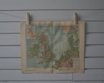 1928 Vintage Map of United Kingdom & Ireland