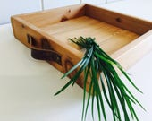 Rustic Modern Tray Cedar Wood Tray Handmade wood crate with handles Square tray rustic farmhouse style Coffee Table Tray 12x12 Serving Tray