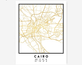 Cairo Map Coordinates Print - Egypt City Street Map Art Poster, Gold Cairo Map Print, Cairo Egypt Coordinates Arabic Poster Map Design Print