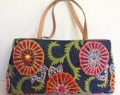 Santi Embellished Textured Embroidery Denim Purse