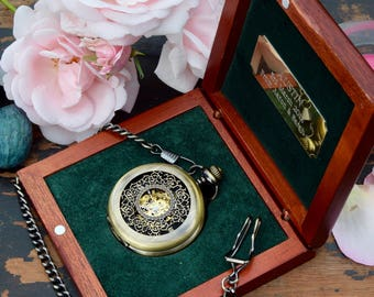 Pocket watch gift for men, gift for him, mens gift - Steampunk engraved watch