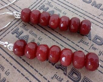 Ruby Drop Earrings, Sterling Silver Earrings, Birthstone Jewelry, Dangly Earrings, July Birthstone Jewellery, Ruby Red