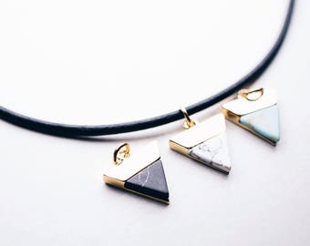 Chokers, pointed gemstone, gemstone necklace, Gold plated, Black leather choker, Choker