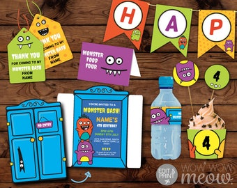 MONSTER Birthday Party Package Bash Invitations INSTANT DOWNLOAD Decorations Full Printable Collection Editable Monsters Personalize Invite