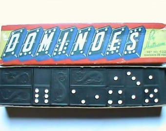 Vintage wooden Dominoes game set by Halsom Dragon emblems no. 622