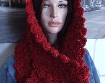 Spiced Candy Apple Red Extra Long Handmade Cowl Scarf Flecked Red Thick & Chunky Winter Scarf for Her in Thick Blanket Stitch Ready to Ship