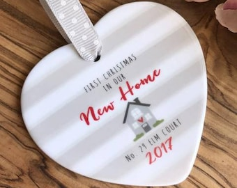 Personalised First Christmas In our New Home with Grey Stripe Detail - Christmas Gift - New Home Gift - Keepsake