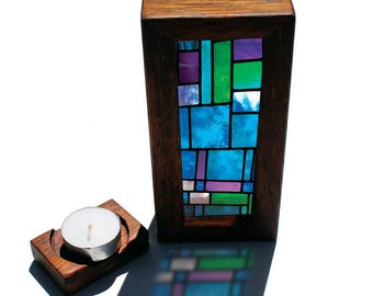 Modern Stained Glass Handmade Timber Light Box and tealight candle holder