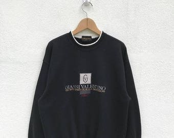 20% OFF Vintage Gianni Valentino Embroidery Logo Sweatshirt / Gianni Valentino Italy / Spell Out / Big Logo Sweater / Gianni Valentino