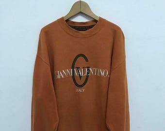 20% OFF Vintage Gianni Valentino Embroidery Logo Pullover Sweater/Gianni Valentino Sweatshirt/Gianni Valentino Spell Out