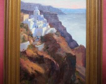 Santorini, Original Plein Air Oil Painting
