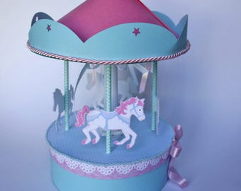 Merry-go-round carousel Center table in pastel colors for baptism, birthday party, candy bar or baby shower