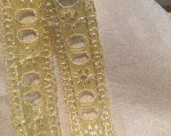 Yellow eyelet lace. 2cms wide. A light weight polyester lace. YL007