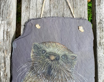 Otter - Handpainted Reclaimed Slate Wall Hanging