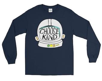 Choose Kind Helmet shirt - Long Sleeve T-Shirt Teacher Gift Teacher Shirt Be Kind Shirt