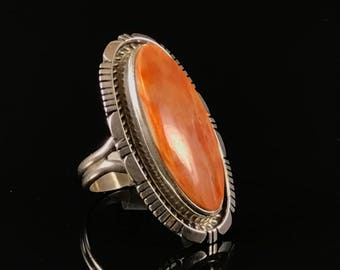 Native American orange spiney oyster shell ring size 7 spiney oyster shell navajo ring native ring sterling silver ring