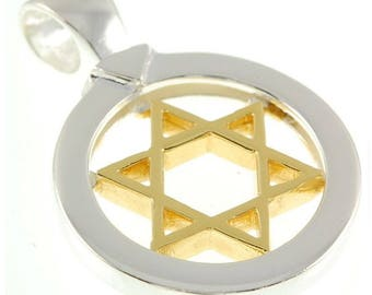 Star Of David Pendant in Gold&Silver With + Sterling Silver Chain