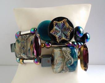"Bracelet 3 rows ""The Aurora Borealis"" woman unique and handmade"