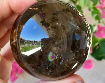 63mm Extra Dark Smoky Quartz Sphere w/ Rainbows - Brazil