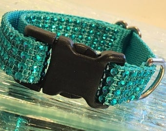 Sparkly Turquoise Dog Collar