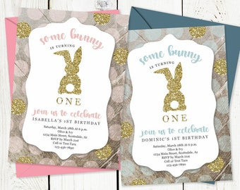 Printable Easter Birthday Invitation Template - Some Bunny Is Turning One - Boy Girl 1st Birthday Party - Instant Download Digital File PDF