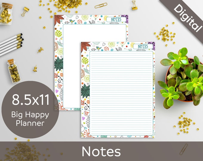 8.5x11 Notes, Printable Notes refills, Big Happy Planner, Letter size, Syasia Cute Floral Day Organizer, DIY Planner PDF Instant Download