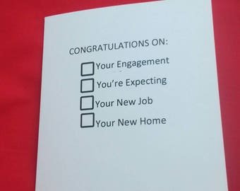 Congratulations Joke Card, Multi Purpose Congratulations, Handmade, New Job, Engagement, New Home, You're Expecting, Multiple choice card